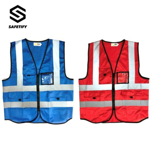 READY STOCK 120GSM Polyester Fabric HIGH VISIBILITY SAFET VEST WITH Multiple Pockets