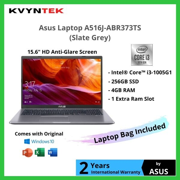 Asus 15.6 Intel Core i3 Notebook Laptop A516J-ABR373TS ( Slate Grey ) / A516J-ABR374TS ( Transparent Silver ) [ Ready Stock & Sealed Pack ] Malaysia