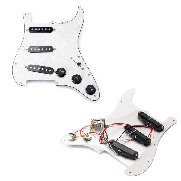 3 Ply Single Coil SSS Prewired Loaded Electric Guitar White Pearl Pickguard Set with Alnico V Pickups for Fender ST / Strat Style Electric Guitar Malaysia