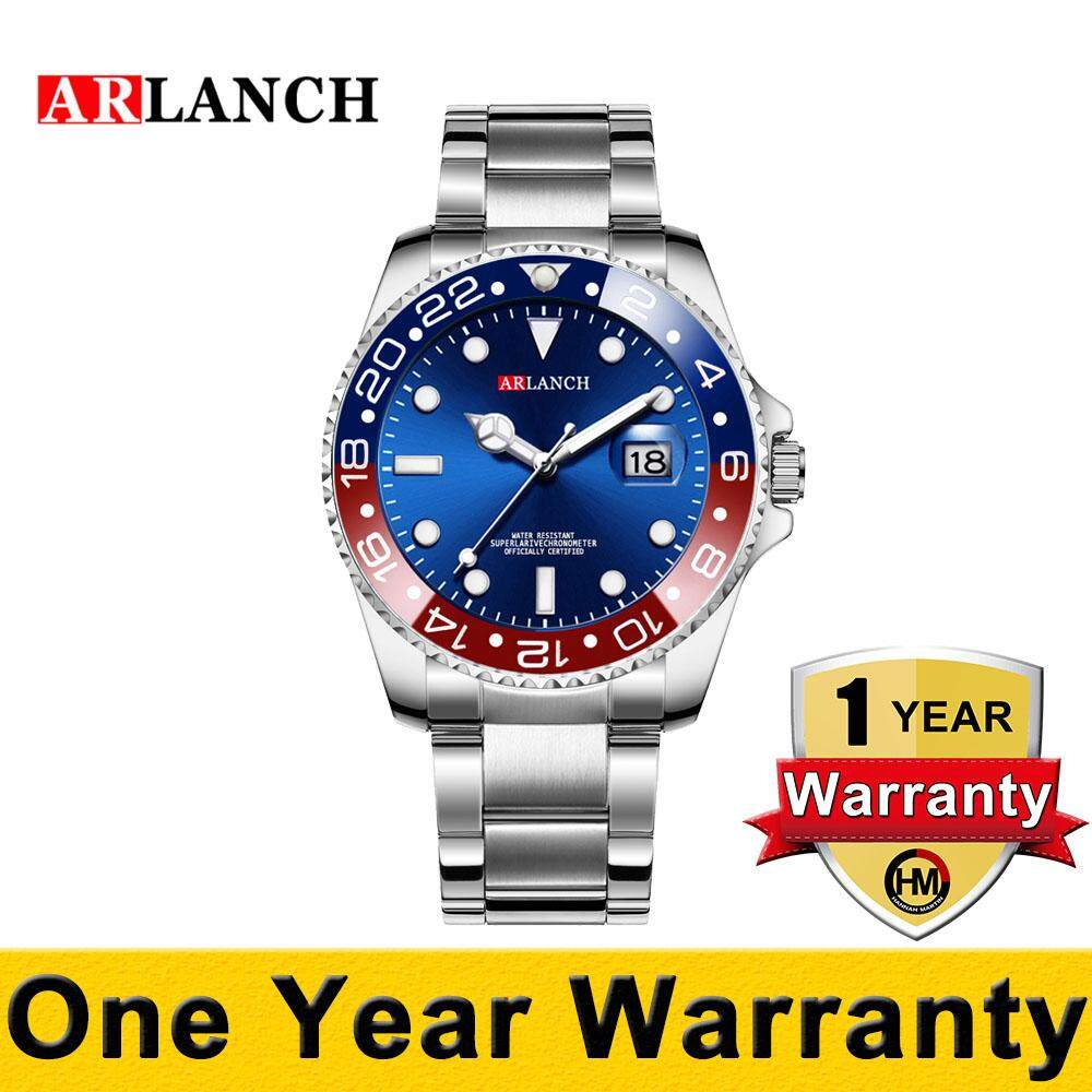 ARLANCH Business Watch for Men Quartz Waterproof Fashion Wristwatches Rotatable Bezel Sapphire Glass Date Stainless Steel Malaysia