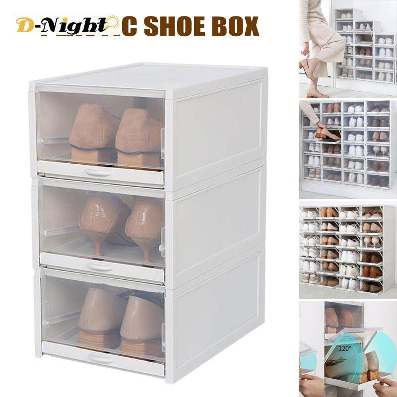 D-Night 3 Pack/Set Stackable Storage Shoe Box Clear Plastic Shoes Containers Cases