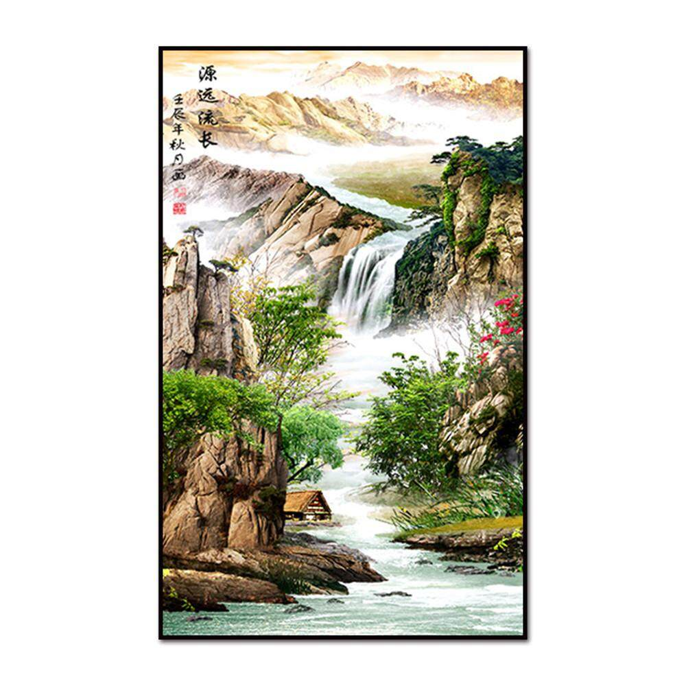 Wall Art Painting Classical Chinese Painting Mountain and Flowing Water Picture Print on Canvas Painting for Home Decor Decoration Gifts
