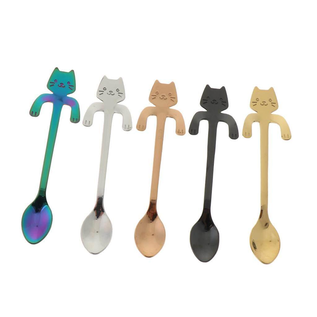 BolehDeals 5 Pieces Stainless Steel Creative Coffee Tea Ice Cream Spoons