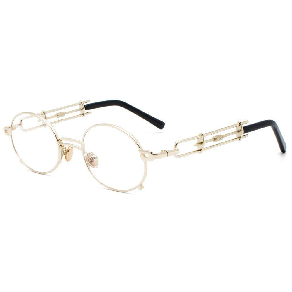 b5441ed77c Retro Round Steampunk Glasses Frame Women Vintage 2019 Metal Oval Eyeglasses  Frames for Men Unisex Gold
