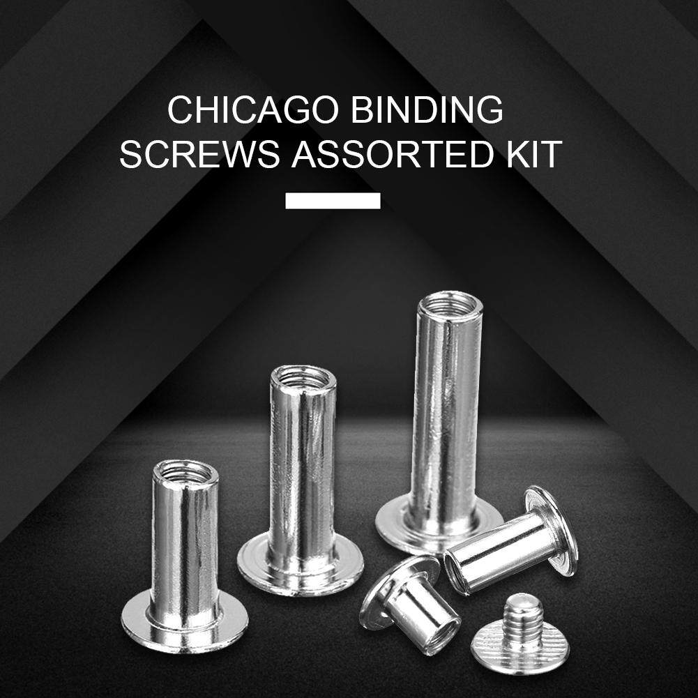 80 Set Chicago Binding Screws Assorted Kit 7 Different Sizes Metal Round Cross Head Stud Screw Posts Nail Rivet Chicago Button for DIY Leather Decoration Bookbinding