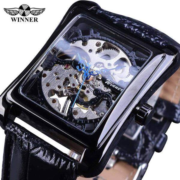 Winner Watch Fashion Rectangle Black Watch Mens Skeleton Clock relogio masculino Unique Blue Hands Design Malaysia