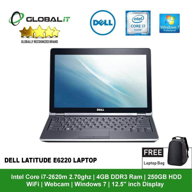 (Refurbished Notebook) Dell Latitude E6220 Laptop / 12.5 inch LCD / Intel Core i7-2620M / 4GB DDR3 Ram / 250GB HDD / WiFi / Windows 7 Professional / Webcam Malaysia
