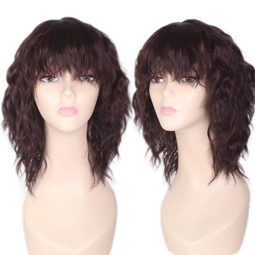Fashion Wanita Sexy Berponi Penuh Wig Wig Pendek Volume Kecil Wig