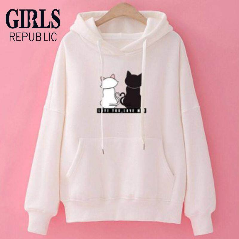 c695a3e674a Girls Republic Women s loose cat print sweater plus velvet thickening  hooded Korean version of the slim