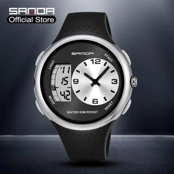 Đồng hồ Sanda cao cấp chính hãng, màn hình kỹ thuật số có đèn LED, dây đeo bằng cao su chống thấm nước, thiết kế sang trọng và sành điệu cho nam bán chạy