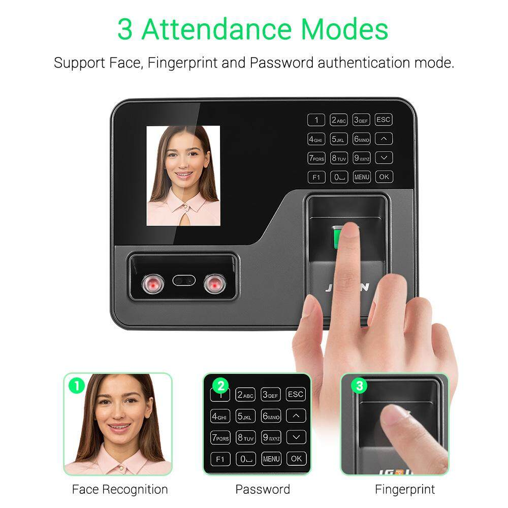 JAPIN Biometric Intelligent Attendace Machine Face Fingerprint Password Recognition Employee Checking-in Time Clock Recorder 2.8 TFT Screen Touch-Key USB Disk Data Download for Office