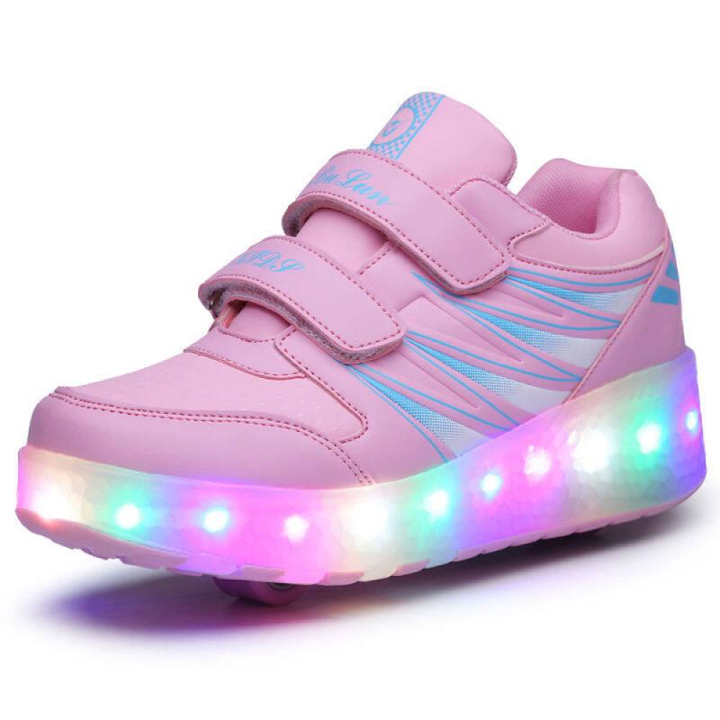 Phân phối 2020 Heelys Cậu Bé Trượt Patanh Giày Trẻ Em Giày Với Bánh Xe Giày Da Đen Led Kích Thước Hồng Đen