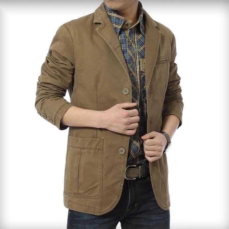 Áo dài tay NIK kiểu mới màu trơn giản dị cho nam, áo khoác mỏng vừa vặn phong cách 3 màu kaki màu xanh quân đội và màu đen - INTL