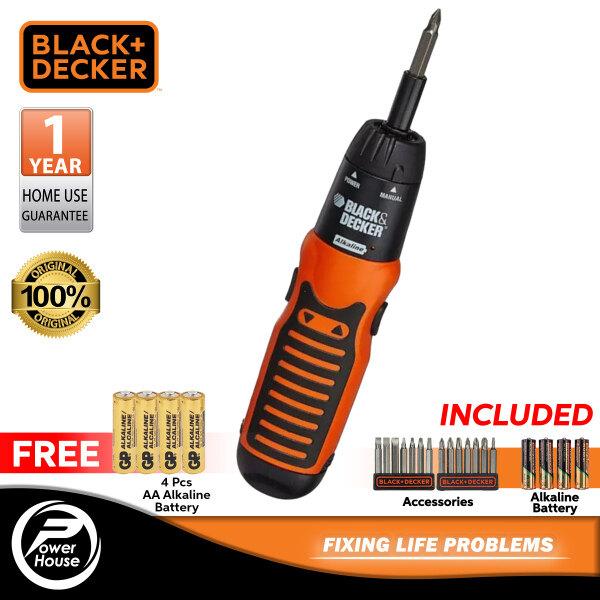 BLACK & DECKER A7073 Alkaline Cordless Screwdriver Set With 14 Accessories & Battery + FREE 4 Pcs AA Alkaline Battery