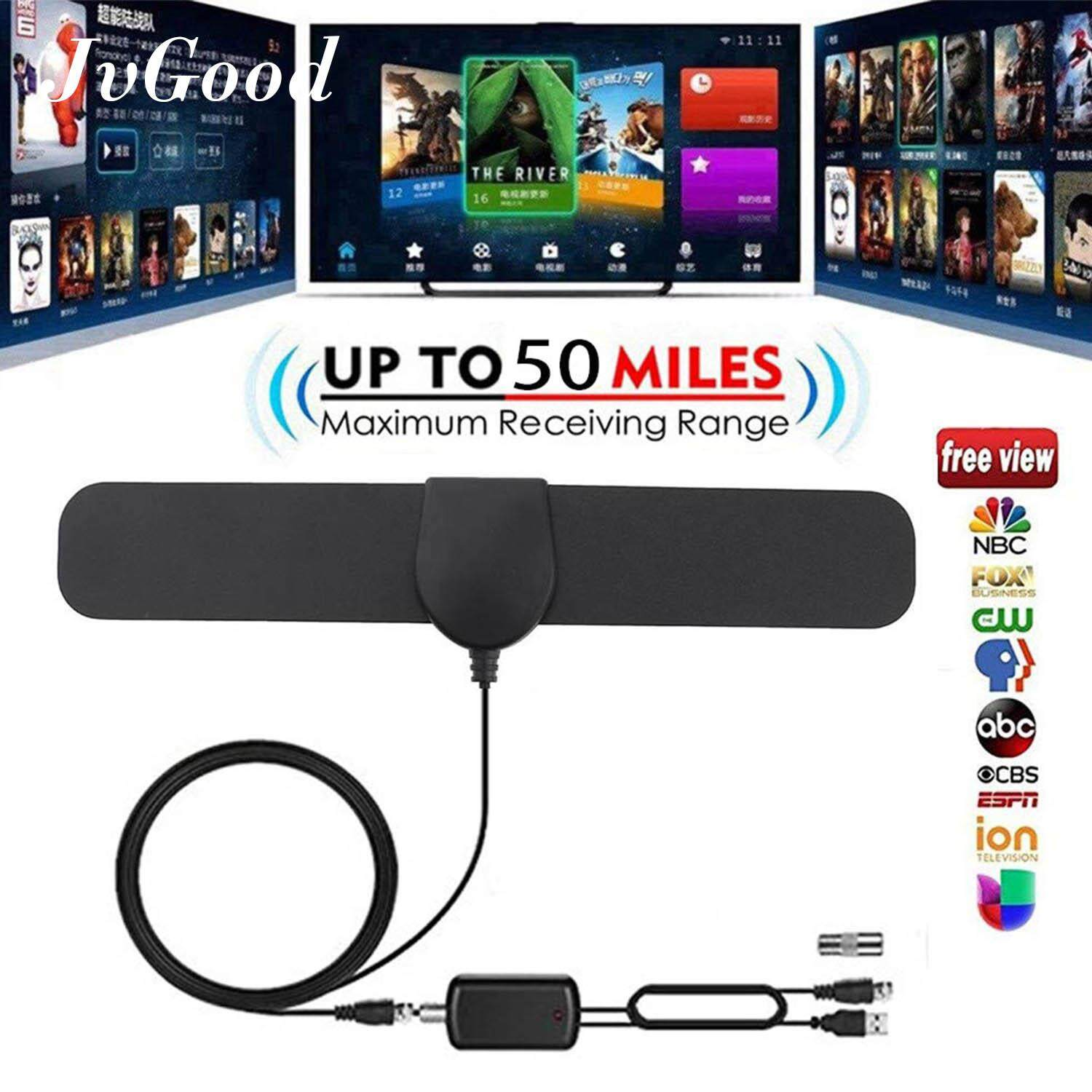 JvGood Amplified HD Digital TV Antenna Long 50 Miles Range Support 1080p  TV's Indoor Powerful HDTV Amplifier Signal Booster- 4M Cable