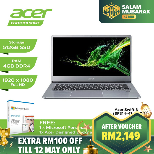 [PROMO] Acer Swift 3 SF314-41-R6DG Laptop (Radeon Vega Mobile/AMD Ryzen 3-3200U/4GB/512GB SSD/14-inch/Windows 10) Malaysia