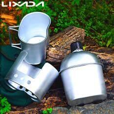 LIXADA 3 Bộ Nồi Nhôm Quân Sự Căng Tin Cốc Gỗ Bếp Bộ Bao Da Dùng Cho Cắm Trại Đi Bộ Đường Dài Mang Trang Bị Sau Lưng