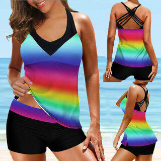 [Bán Chạy] Showvie Áo Tắm Tankini Nữ Họa Tiết Soilds Gợi Cảm Áo Tắm BIkini Đồ Đi Biển Đồ Bơi thumbnail