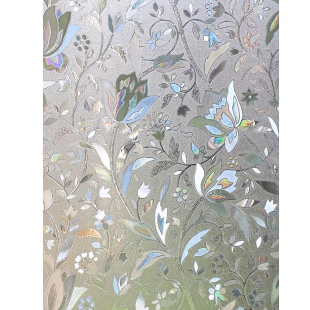 No-Glue Static Window Film 3D Tulip Frosted Glass Stickers Decor (60X200cm)