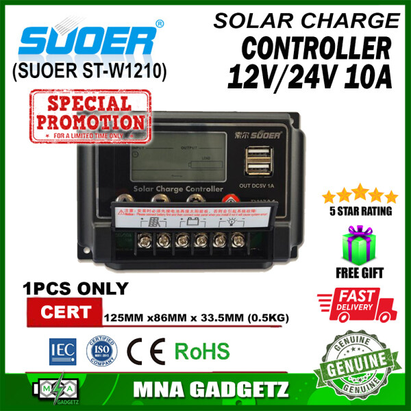READY STOCK SUOER 12V 24V 10A Solar Panel High Grade Charge Controller with LCD Display Screen STW1210