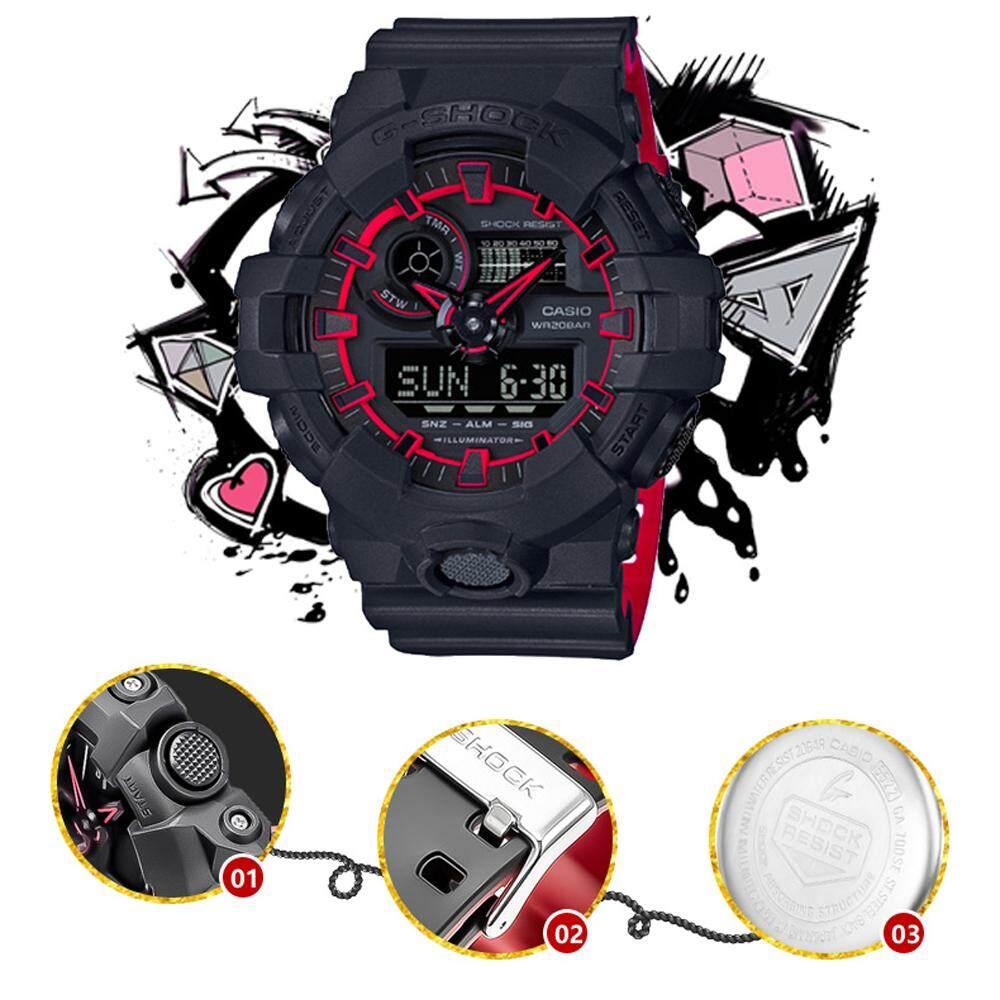 การใช้งาน  ชัยนาท 【 STOCK】Original _ Casio_G-Shock GA700 Duo W/เวลา 200M กันน้ำกันกระแทกและกันน้ำโลกนาฬิกากีฬาไฟแอลอีดีอัตโนมัติ Wist นาฬิกากีฬาสำหรับ MenBlack สีแดง GA-700SE