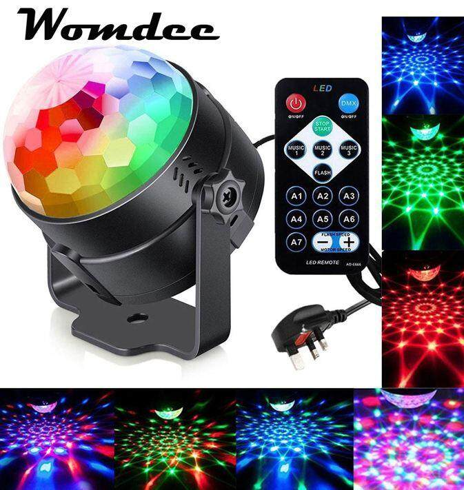 Womdee Sound Activated Party Lights, 2018 Version Disco Ball Dj Lights With 3 Modes, 7 Lighting Color, Battery Powered/usb Plug In, Remote Control For Party, Birthday, Wedding, Ktv, Bar Etc.(uk Plug) By Womdee.