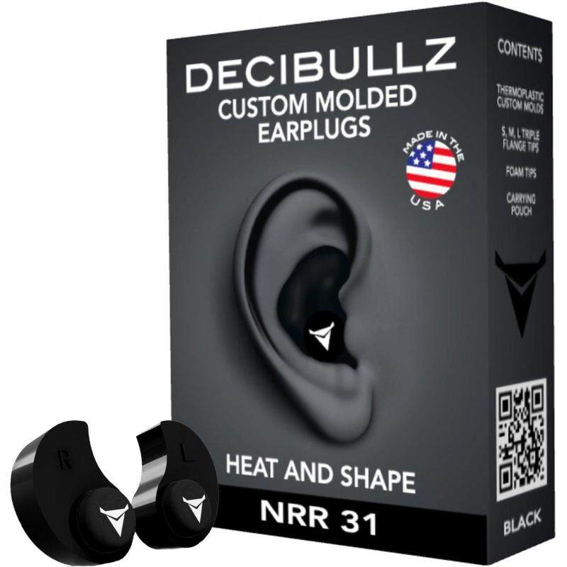 Decibullz (USA) - Custom Molded Earplugs, 31dB Highest NRR, Comfortable Hearing Protection for Shooting, Travel, Swimming, Work and Concerts