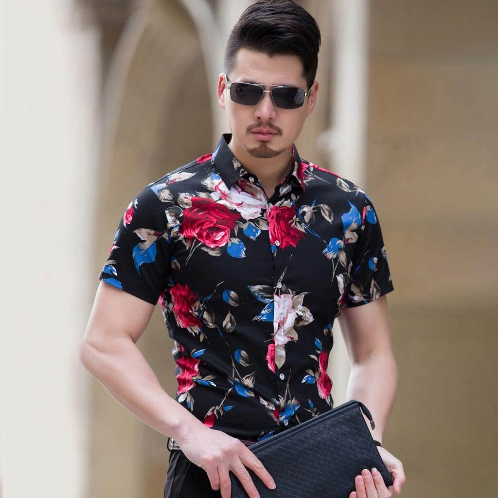 799ac632 Rainny Men Casual Summer Printed Button Short Sleeve Hawaiian T-Shirt for  men Top Blouse