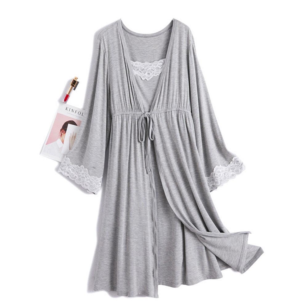 2PCS Women Maternity Dress Lace Nursing Pregnant Bath Robe Bandage Sleepwear Set
