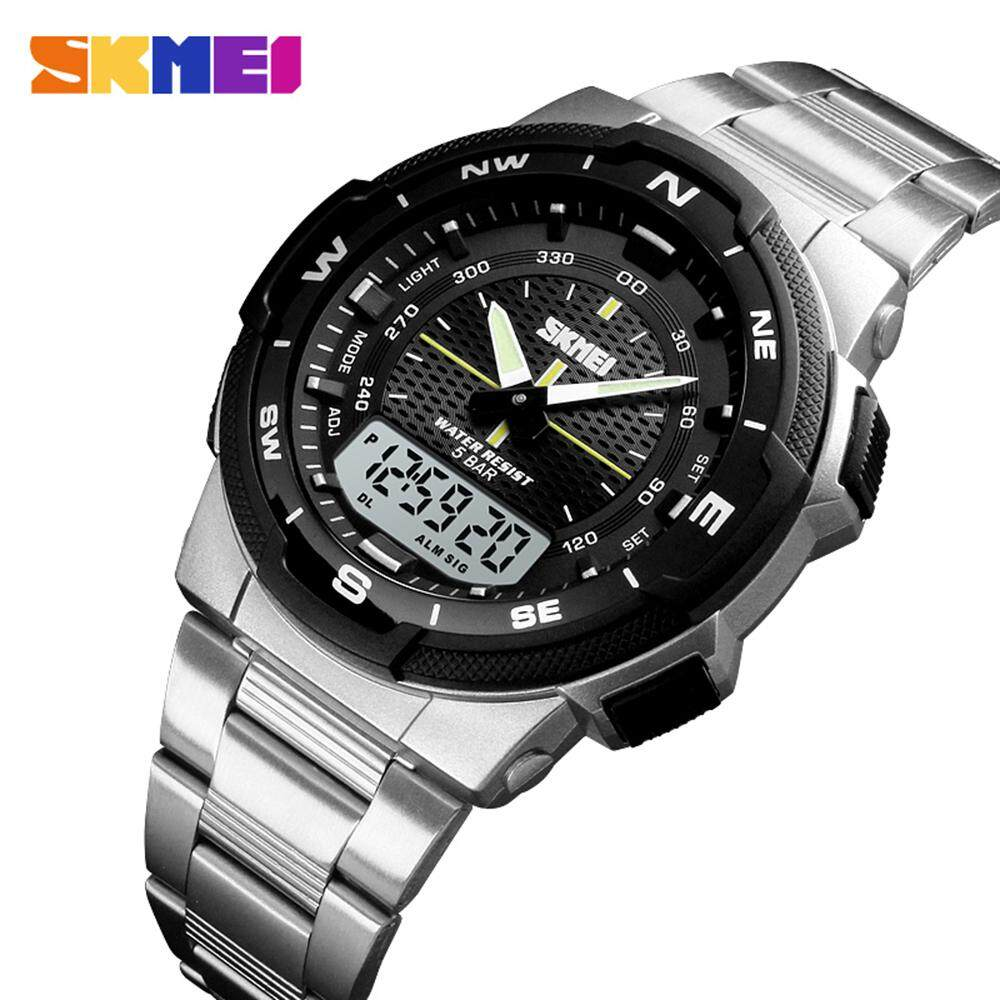 SKMEI 1370 Watch For Men Fashion Sport Digital Quartz Dual Display Clock Chronograph Multiple Time Zones Men Watches Top Brand Luxury Stainless Steel Business Waterproof  Luminous Male Watch Malaysia