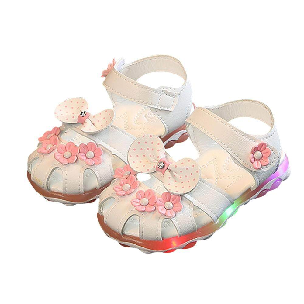 86e95e446fba43 Myapple Summer Child Kid Girls Led Light Flower Bowknot Princess Luminous Sandals  Shoes