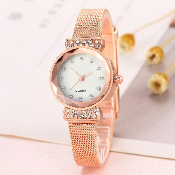 LKJ Fashion Magnetic buckle Dazzling women Mesh Belt Watch ladies Quartz Analog watch for women sale original new best seller Alloy Malaysia