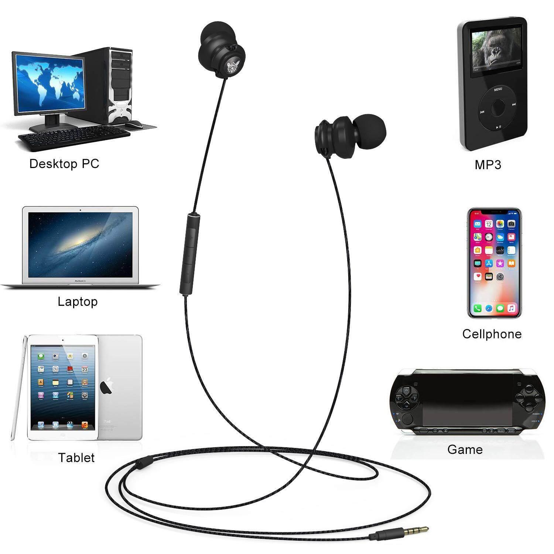 Moonmini สำหรับ ONIKUMA A2 ตัดเสียงรบกวนแบบมีสาย HIFI ขอเกี่ยวกีฬาหูฟังสเตอริโอเบสหูฟังชนิดใส่ในหูหูฟังสายเคเบิลเสียบแจ็คสเตอริโอสำหรับ iPhone และ Android โทรศัพท์