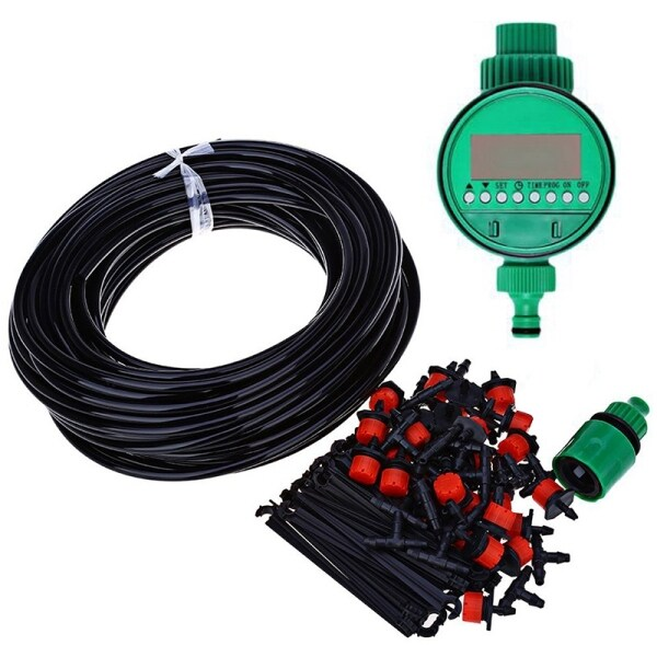 25M Diy Mini Drip Irrigation System Plant Self Automatic Watering Timer Garden Hose Kits With Adjustable Dripper