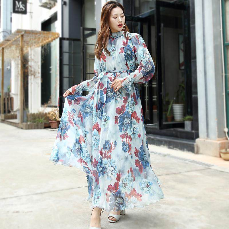 55b2aa9a14 2019 New Style New Year Super-Long And Ankle Long Skirts Chiffon Dress  Summer Big