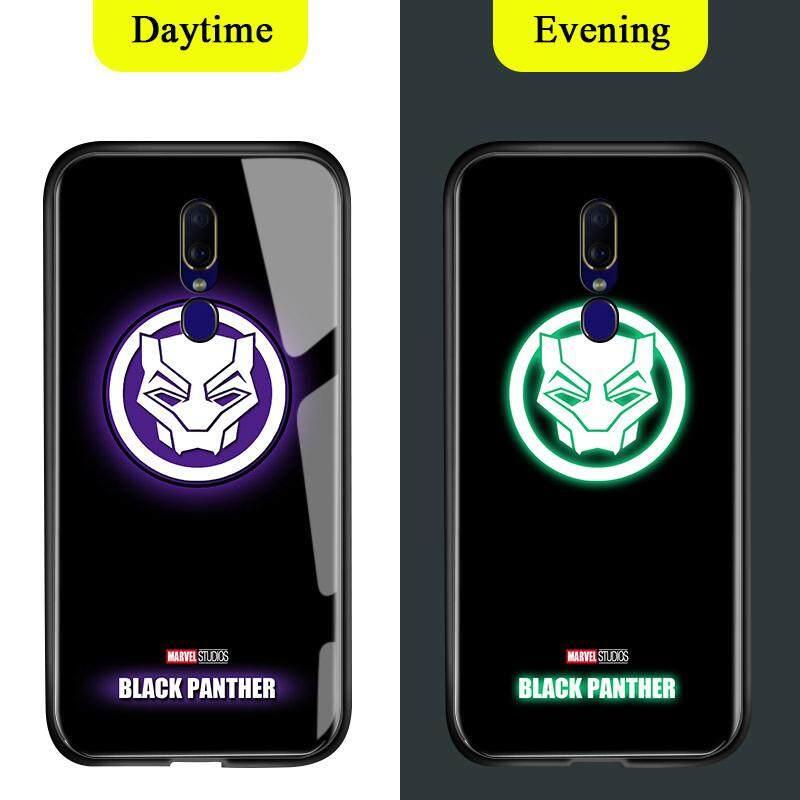 Untuk OPPO F11 A9 A9X Cahaya Berseri-seri Dalam Gelap Marvel Manusia Super Avenger Logo Sarung Berkilau Ironman Spiderman Thor Kaca Antigores Kembali Casing Kover