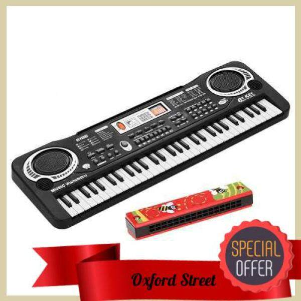 [ Oxford St ] 61 Keys Electronic Digital Piano Keyboard with Dual Speakers Microphone USB/Battery Powered + Tremolo Harmonica 16 Holes Kids Musical Instrument Educational Toy Wooden Cover Colorful Free Reed Wind Instrument (Standard) Malaysia