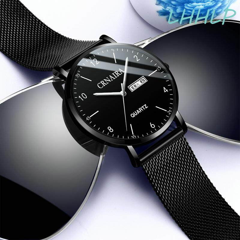 Crnaira C069 Fashion Business Watch For Men Luxury Brand Double Calendar Luminous Pointer 30M Waterproof Mesh Strap Male Quartz Wristwatch Malaysia