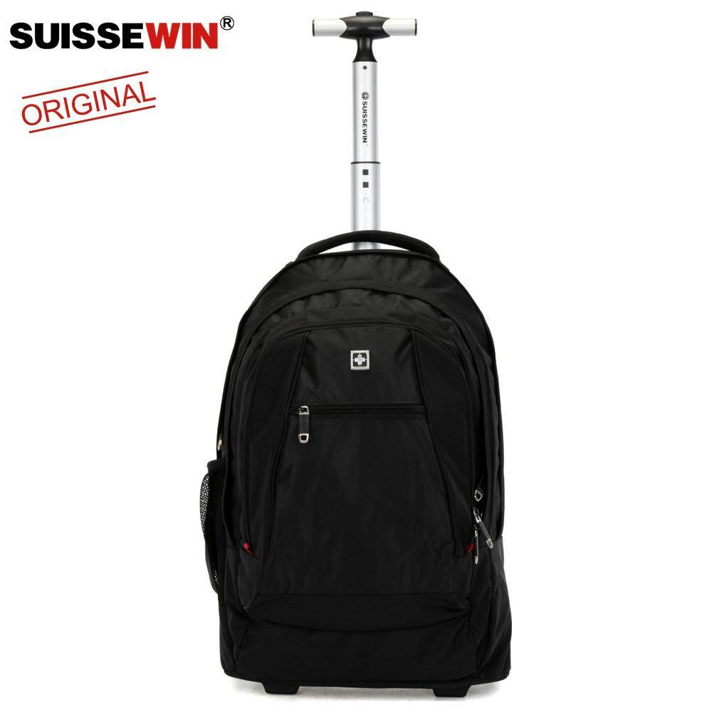 Suissewin 17 inch Laptop Bag Lightweight Luggage Trolley Suitcase Business Multifunction Trolley Backpack Traveling Waterproof Backpack