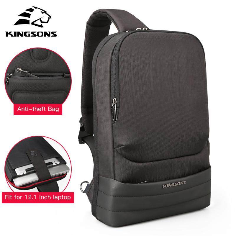 KINGSONS USB Waterproof Nylon 12.1-Inch Laptop Bag Casual Chest Bag Men Fashion Crossbody Bag Multifunctional Messenger Bag Shoulder Sling Bag for Men