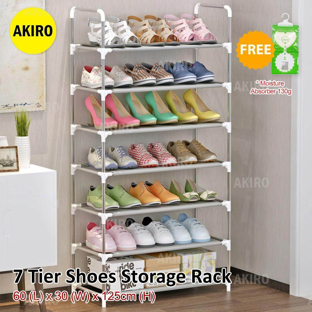 **READY STOCK ** DIY Large 7 Tier Closet Home Living Space Saving Dust-proof Shoes Rack A07 BW
