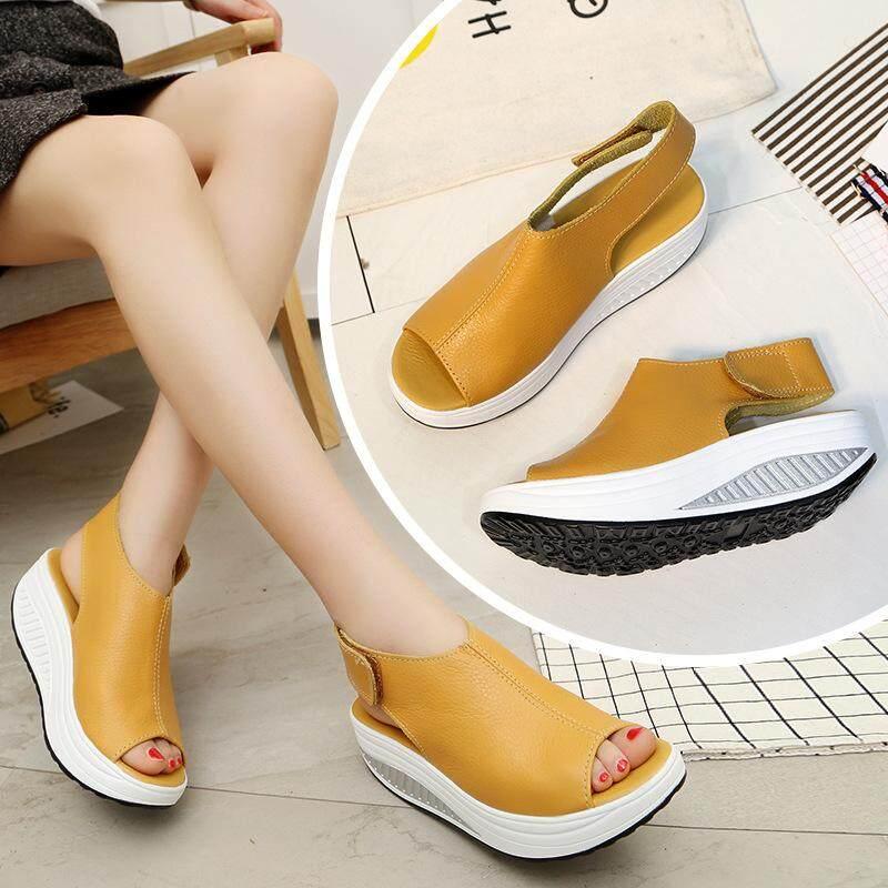 146b8e541b New Summer Wedge Heels Women Sandals Open Toe Fish Head Platform Shoes High  Heels Slingbacks Women