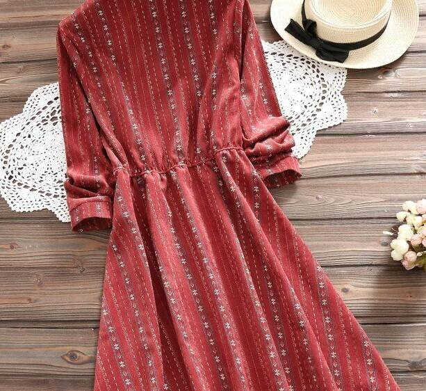 6a6f86eb1e90f Sweet Floral Print Women Lace Up Dress 2018 Spring Japanese Korean Fashion  Mori Girl Vintage Slim Bandage Bow Corduroy Dresses
