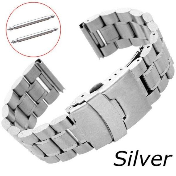 5Rows Stainless Steel Watch Strap 18mm 20mm 22mm 24mm Watch Band Replacement Bracelet Double Lock Buckle Band Wristband Belt Malaysia
