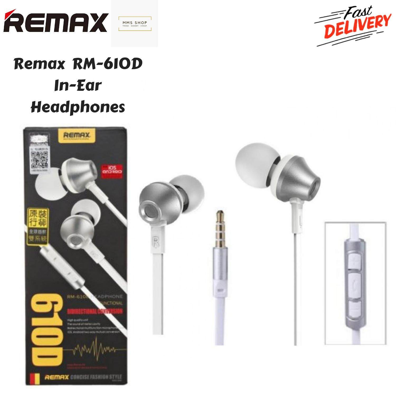Remax 610D In-Ear Earphone Stereo Bass Sound Noise Isolating with Mic for  Phone Computer MP3/4 Music Player