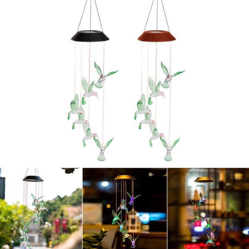 Đèn LED Đổi Màu KL, Đèn Năng Lượng Mặt Trời Hình Chim Ruồi, Chuông Gió, Trang Trí Sân Vườn