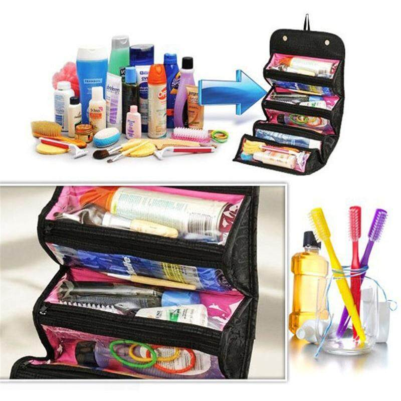 Women Make up Bag Hanging Toiletry Bag Cosmetic Carry On Case Folding Makeup Organizer Cosmetics Bags Brush Storage Box A