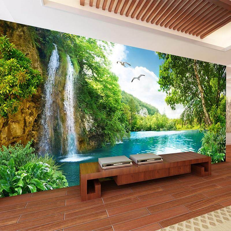 140x70cm 3D Wall Mural Wallpaper Home Decor Green Mountain Waterfall Nature Landscape 3D Photo Wall Paper For Living Room Bedroom