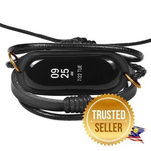 Fashion Leather Bracelet Watch Strap For Xiaomi Mi Band 3 (BLACK) Malaysia