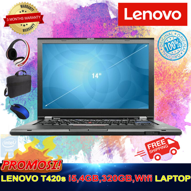 Lenovo i5 Laptop 4GB RAM, 320GB HDD, Wifi, DVD RW, Win 10, - Free Bag + Free Mouse + Free Headphone - 3 Months warranty From The Supplier (factory Refurbished) Malaysia